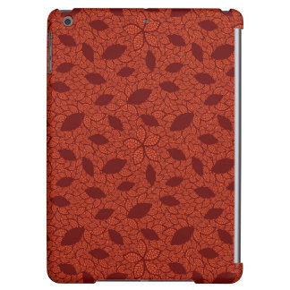 Red leaves pattern on orange