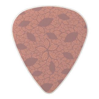 Red leaves pattern on orange acetal guitar pick