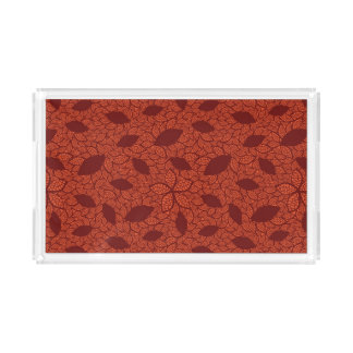 Red leaves pattern on orange acrylic tray