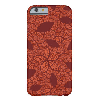 Red leaves pattern on orange barely there iPhone 6 case