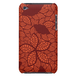 Red leaves pattern on orange barely there iPod cover