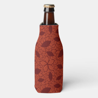 Red leaves pattern on orange bottle cooler