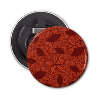 Red leaves pattern on orange bottle opener