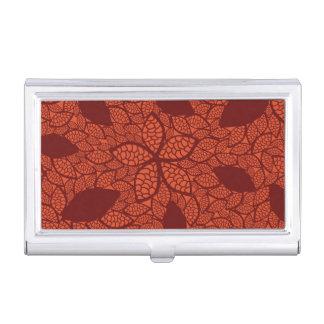 Red leaves pattern on orange business card holder