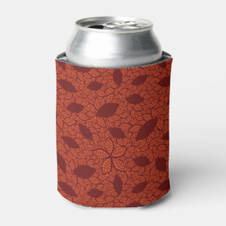 Red leaves pattern on orange can cooler