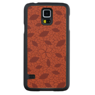 Red leaves pattern on orange carved maple galaxy s5 case