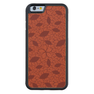 Red leaves pattern on orange carved maple iPhone 6 bumper case
