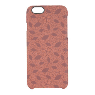 Red leaves pattern on orange clear iPhone 6/6S case