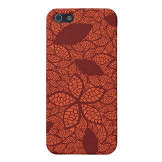 Red leaves pattern on orange cover for iPhone 5/5S