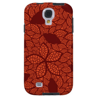 Red leaves pattern on orange galaxy s4 case