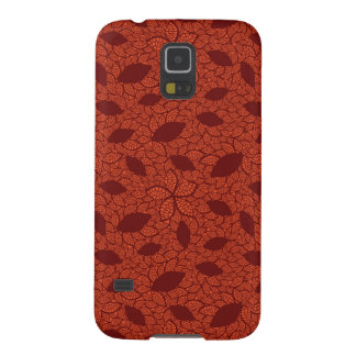 Red leaves pattern on orange galaxy s5 cover