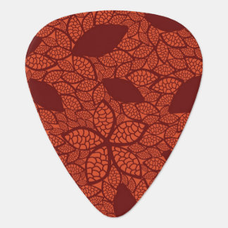Red leaves pattern on orange guitar pick