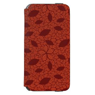 Red leaves pattern on orange incipio watson™ iPhone 6 wallet case