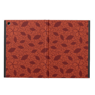 Red leaves pattern on orange iPad air cases
