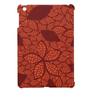 Red leaves pattern on orange iPad mini case