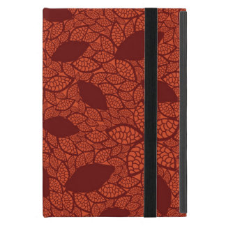 Red leaves pattern on orange iPad mini cover