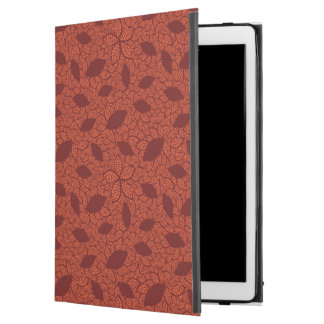 "Red leaves pattern on orange iPad pro 12.9"" case"