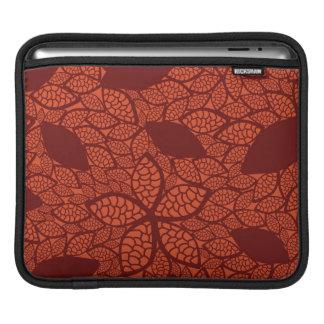 Red leaves pattern on orange iPad sleeve