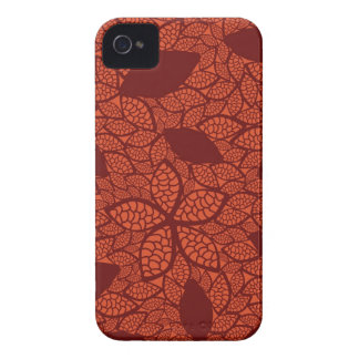 Red leaves pattern on orange iPhone 4 cases