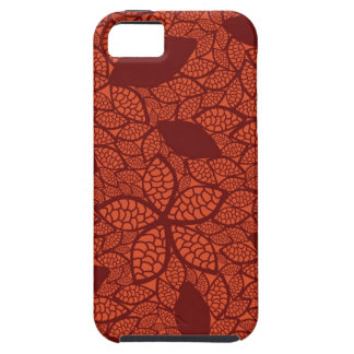 Red leaves pattern on orange iPhone 5 cover