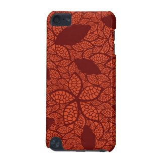 Red leaves pattern on orange iPod touch (5th generation) covers