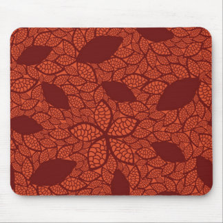 Red leaves pattern on orange mouse mat