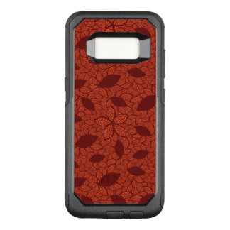 Red leaves pattern on orange OtterBox commuter samsung galaxy s8 case