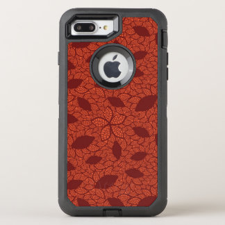 Red leaves pattern on orange OtterBox defender iPhone 8 plus/7 plus case
