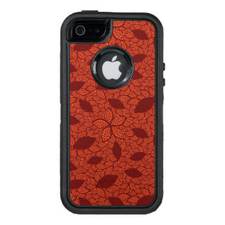 Red leaves pattern on orange OtterBox defender iPhone case