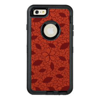 Red leaves pattern on orange OtterBox iPhone 6/6s plus case