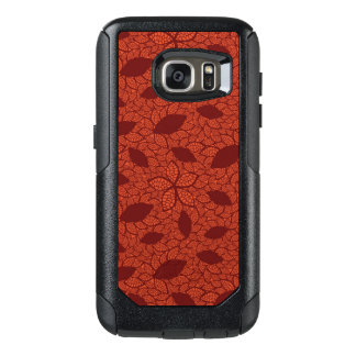 Red leaves pattern on orange OtterBox samsung galaxy s7 case