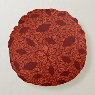 Red leaves pattern on orange round cushion