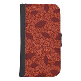 Red leaves pattern on orange samsung s4 wallet case