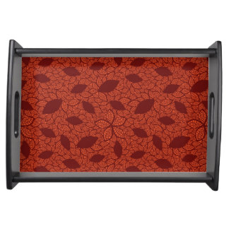 Red leaves pattern on orange serving tray