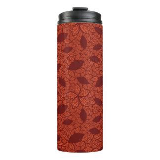 Red leaves pattern on orange thermal tumbler