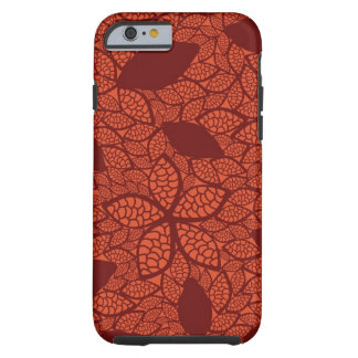 Red leaves pattern on orange tough iPhone 6 case