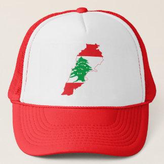 RED Lebanon Flag Map Trucker Hat