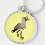 Red-legged Seriema Silver-Colored Round Key Ring