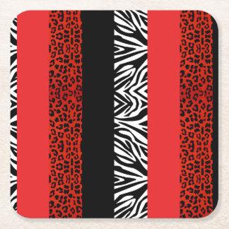 Red Leopard and Zebra Custom Animal Print Square Paper Coaster