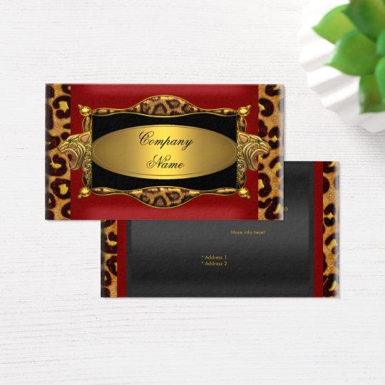Red Leopard Black Gold Elegant Boutique 7 Business Card