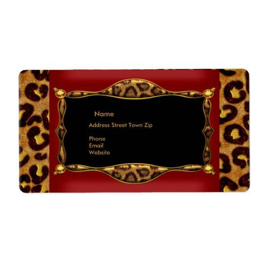 Red Leopard Black Gold Label Address