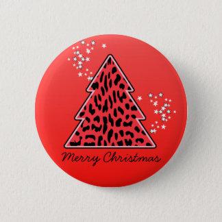 Red Leopard Cheetah Christmas Tree 6 Cm Round Badge