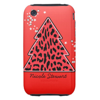 Red Leopard Cheetah Christmas Tree Tough iPhone 3 Case