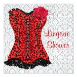 Red Leopard Corset Lingerie Bridal Shower 13 Cm X 13 Cm Square Invitation Card