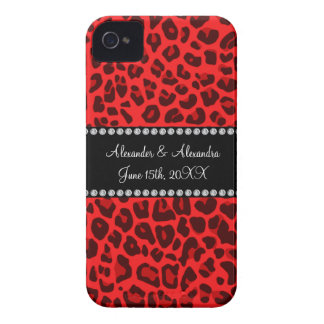 Red leopard pattern wedding favors Case-Mate iPhone 4 case