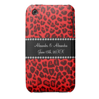 Red leopard pattern wedding favors Case-Mate iPhone 3 case