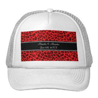 Red leopard pattern wedding favors hat