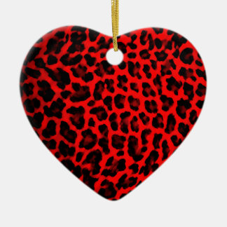 Red Leopard Print Christmas Ornament