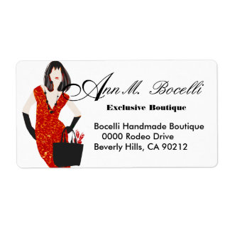 Red Leopard Print Fashion Shipping Label
