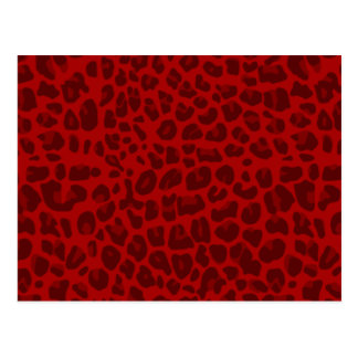 Red leopard print pattern postcard